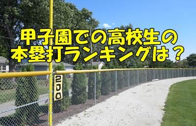 高校野球の甲子園大会での本塁打ランキング